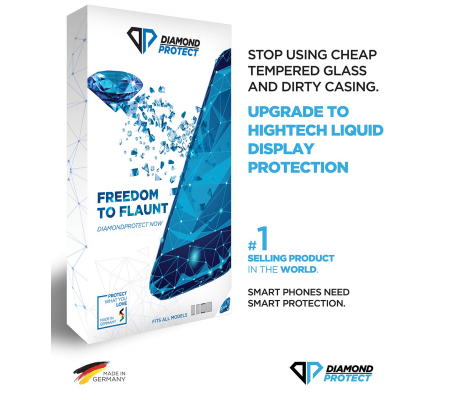 DiamondProtect High-tech display protector for smartphones, tablets, cameras and spectacles