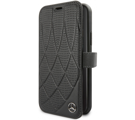 Mercedes Book Case Quilted Perf for Apple iPhone 11 (6.1) Black