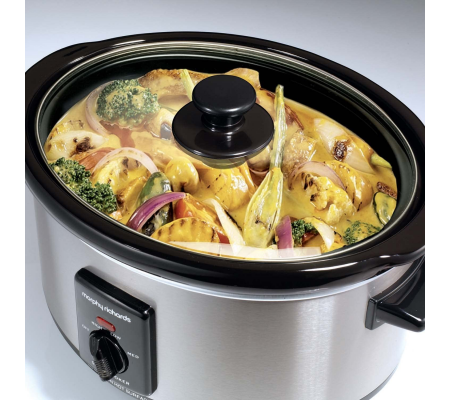 Morphy Richards Slow Cooker 3.5 Litre 48710 Brushed Steel Slowcooker,  #bestbuycyprus, With an oval shaped ceramic pot this