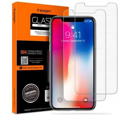Spigen Tempered Glass Screen Protector compatible with iPhone Xs (2018) / iPhone X (2017)