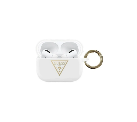 Guess GUACAPLSTLWH Apple AirPods Pro cover white Silicone Triangle Logo