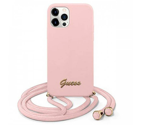 Guess GUHCP12MLSCLMGLP Apple iPhone 12/12 Pro pink hardcase Metal Logo Cord